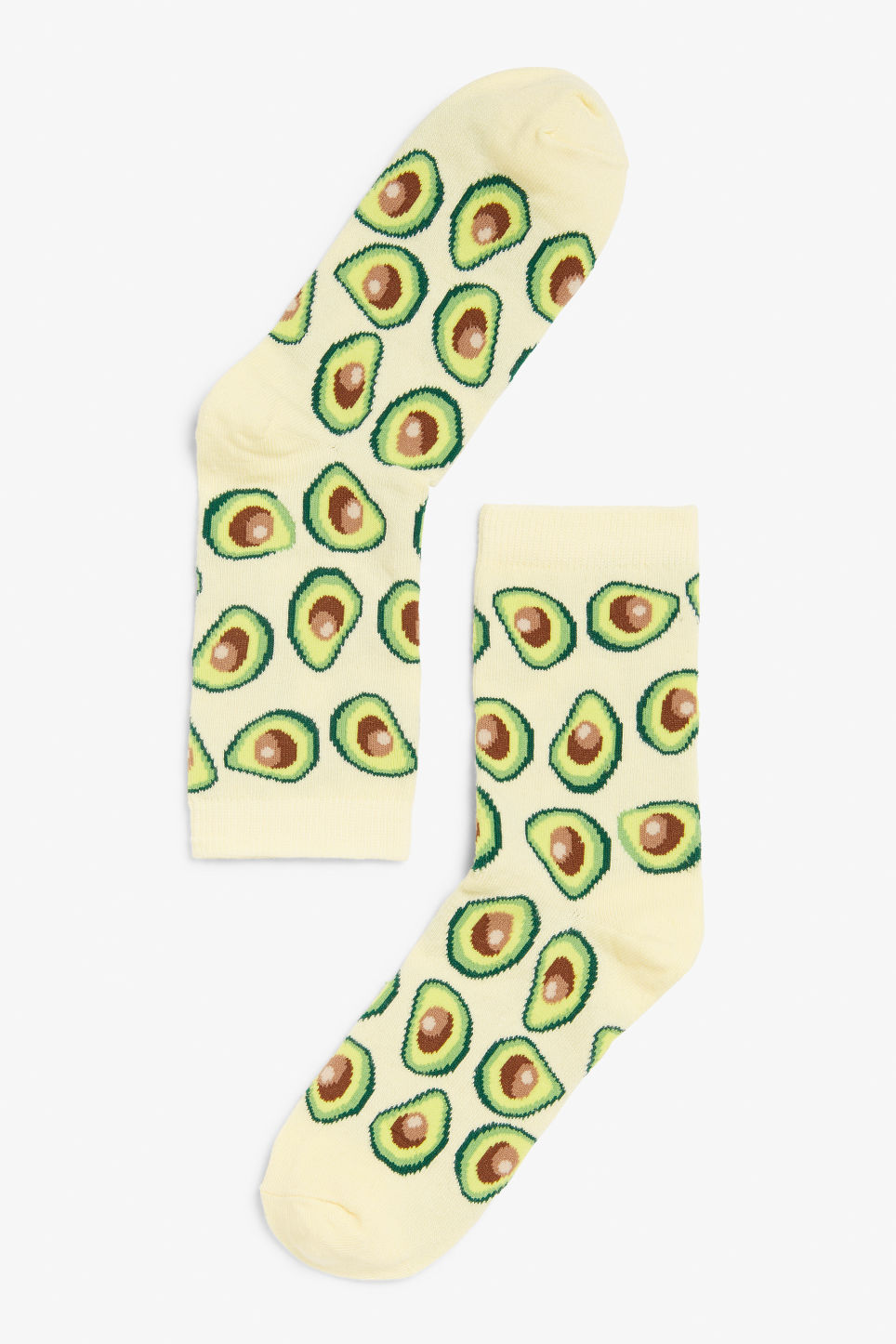 Front image of Monki avocado socks in yellow