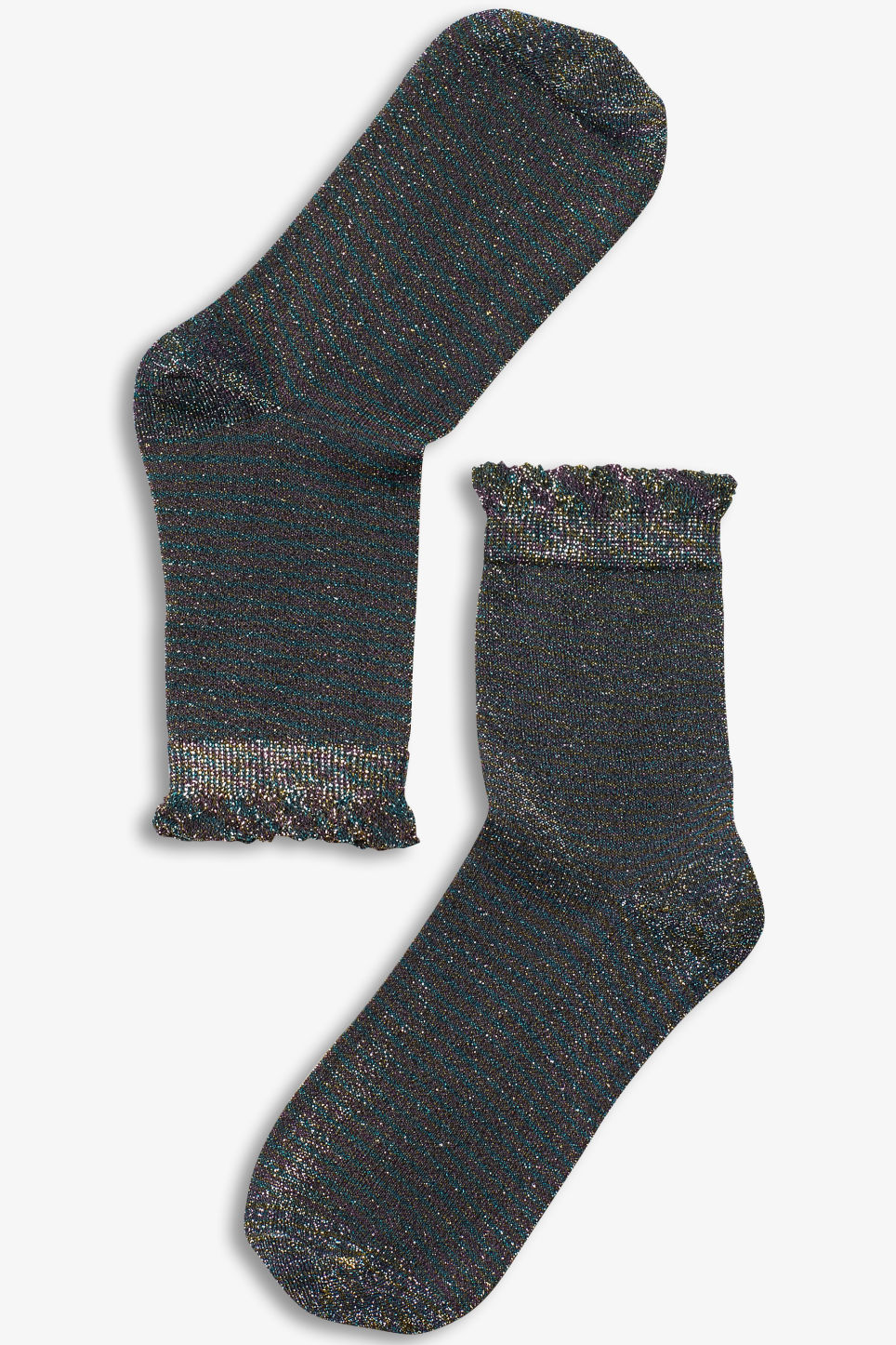 Front image of Monki glitter socks in turquoise