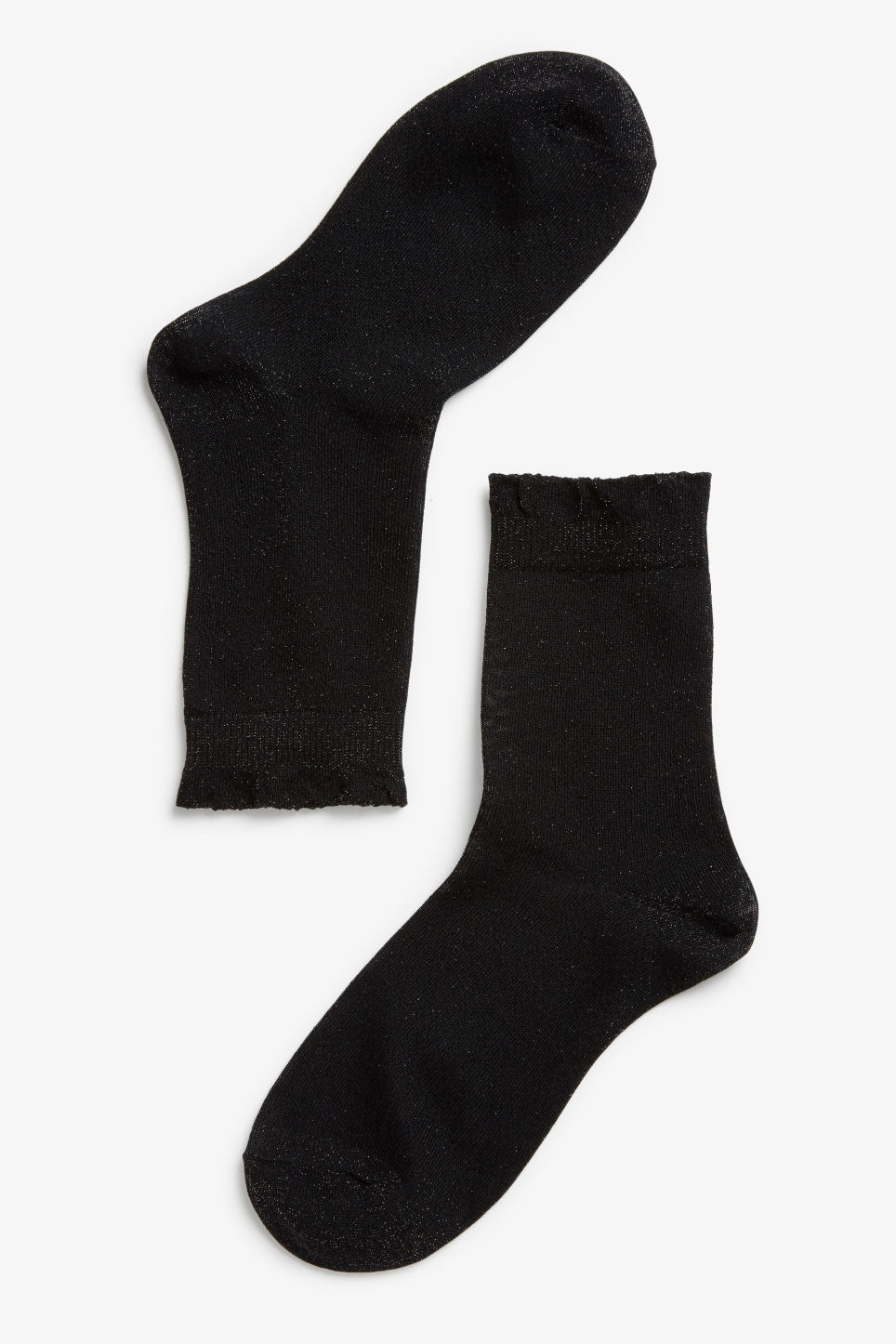 Front image of Monki glitter socks in black