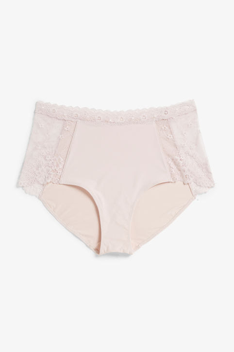Front image of Monki lace panel high waist briefs in pink