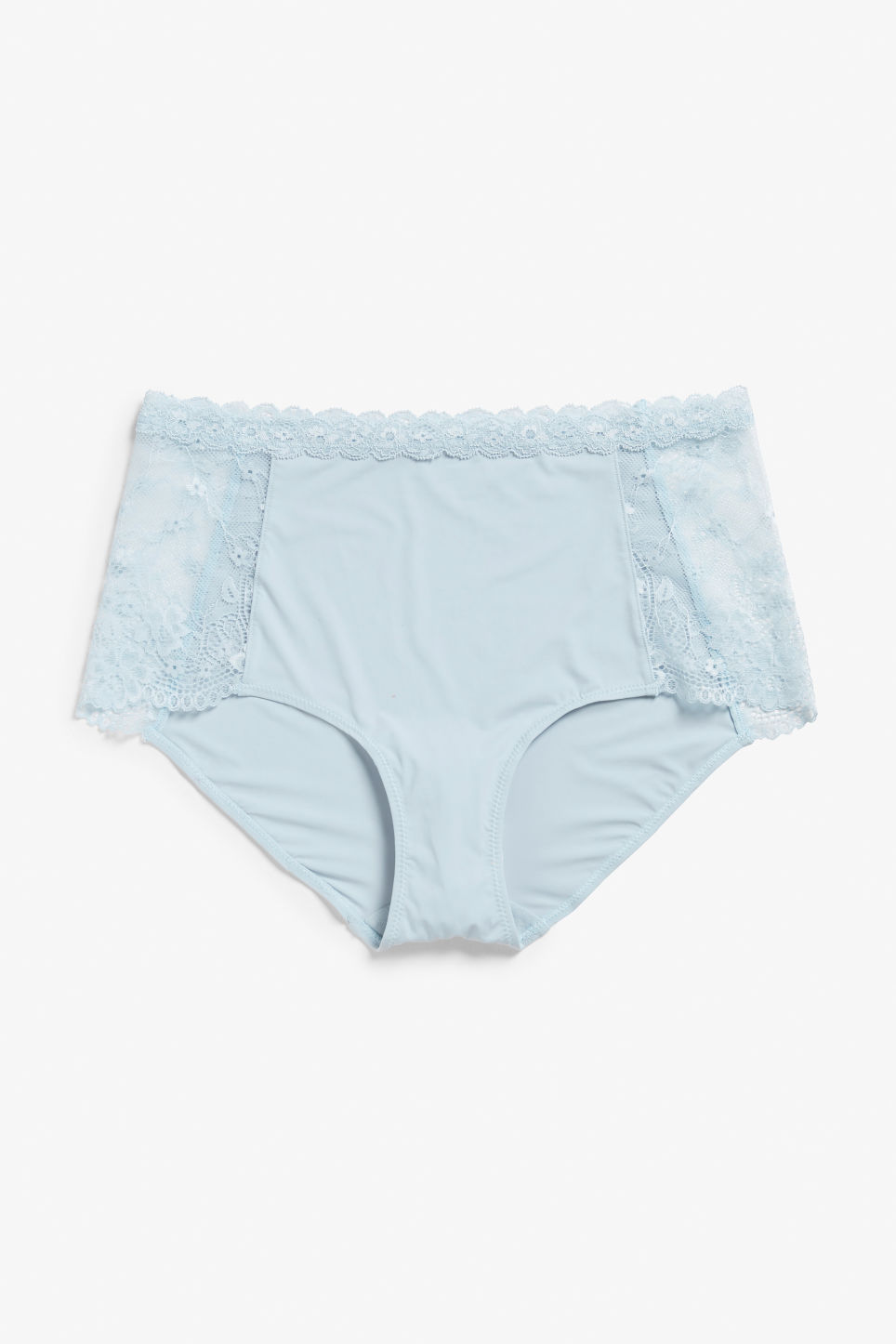 Front image of Monki lace panel high waist briefs in turquoise