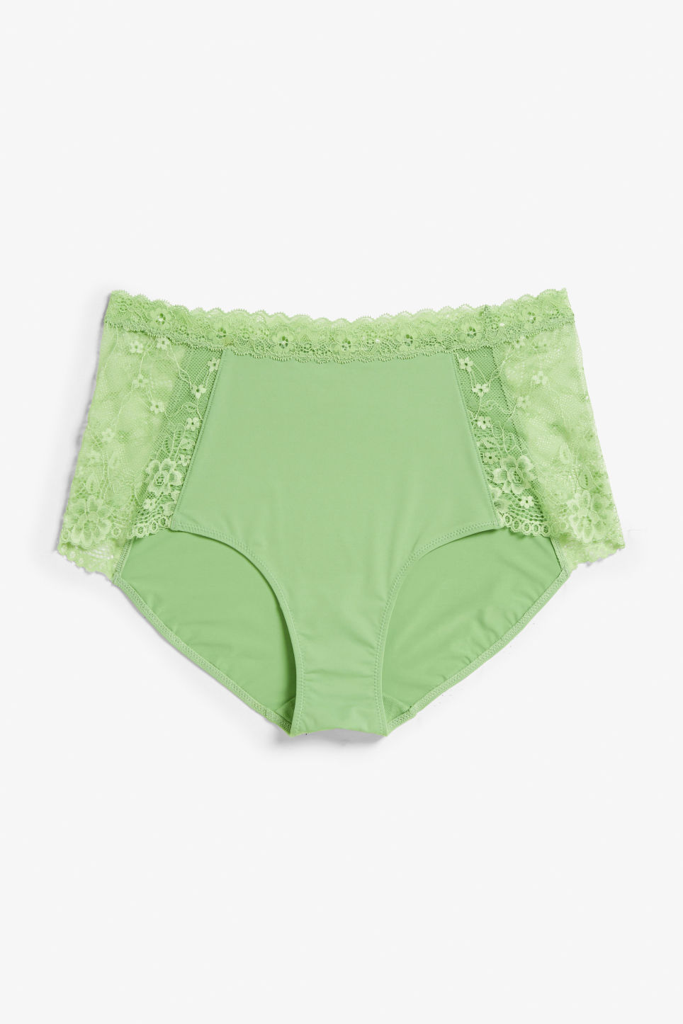 Front image of Monki lace panel high waist briefs in green