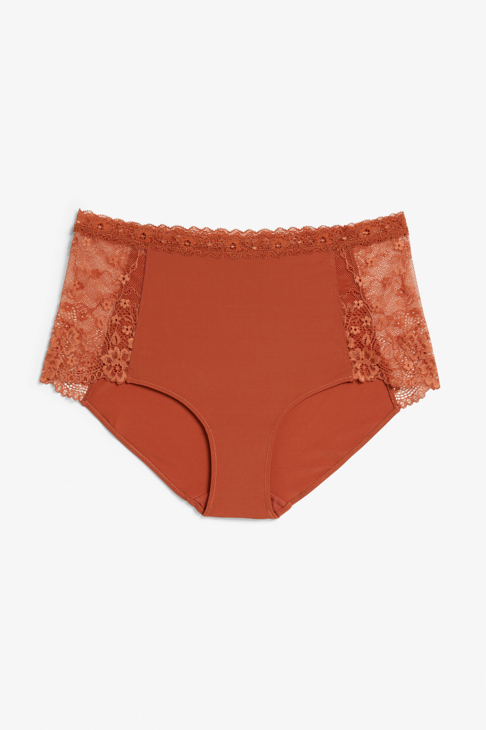 Front image of Monki lace panel high waist briefs in red