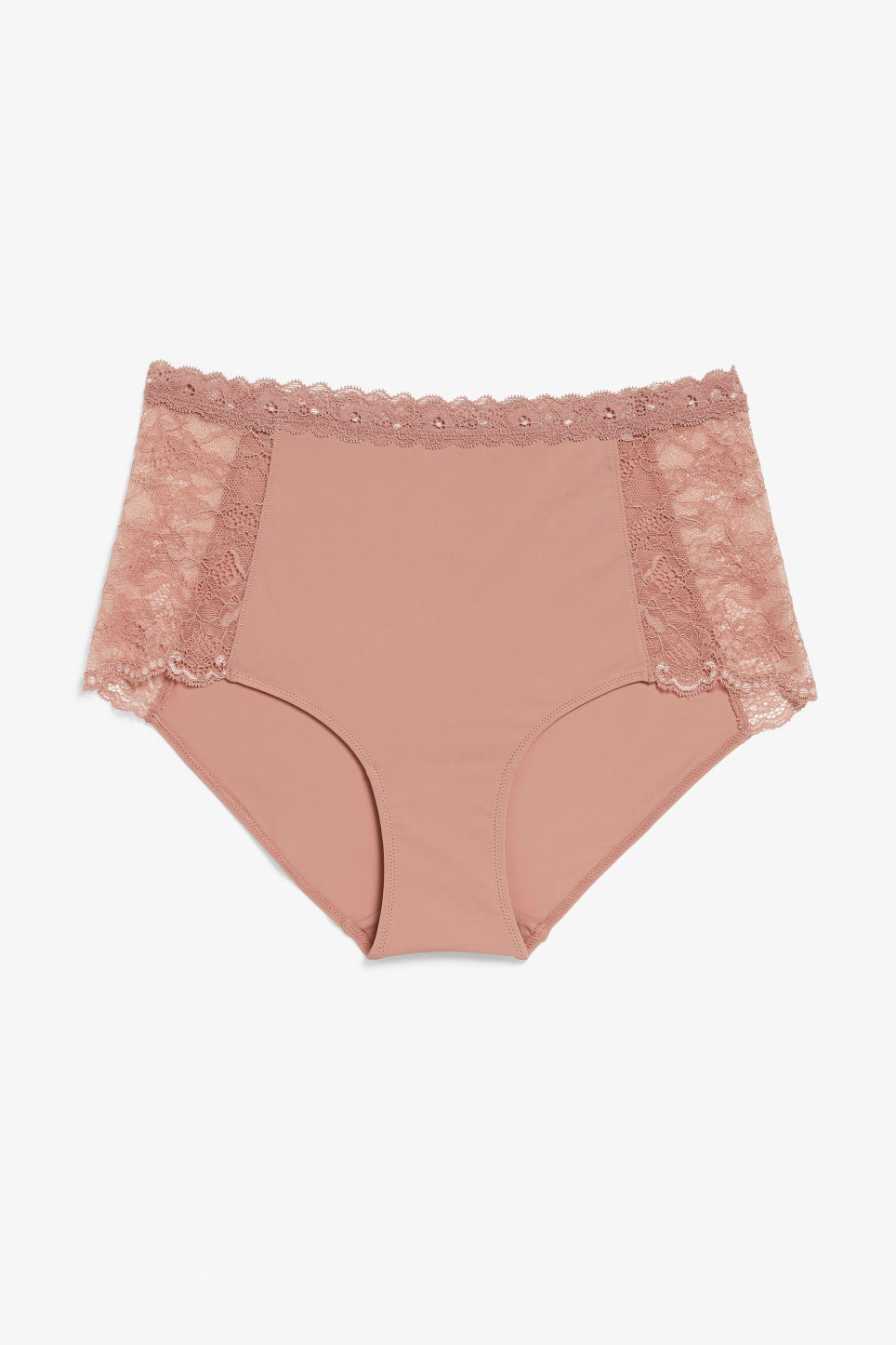 Front image of Monki silky high-waist lace briefs in pink