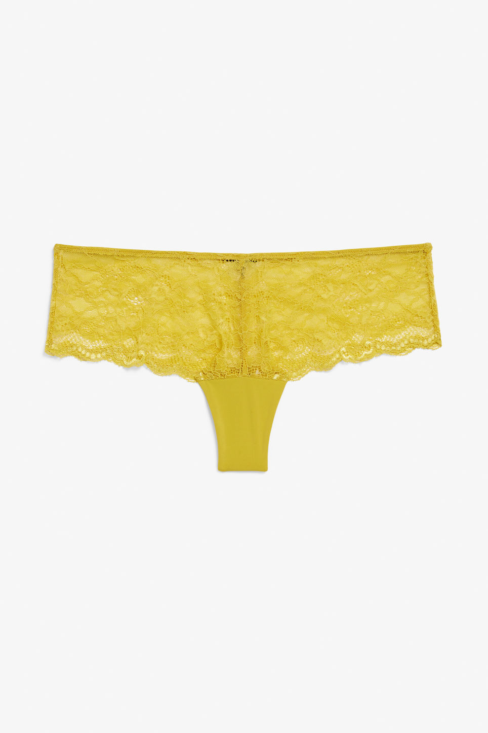 Front image of Monki lace half string in yellow