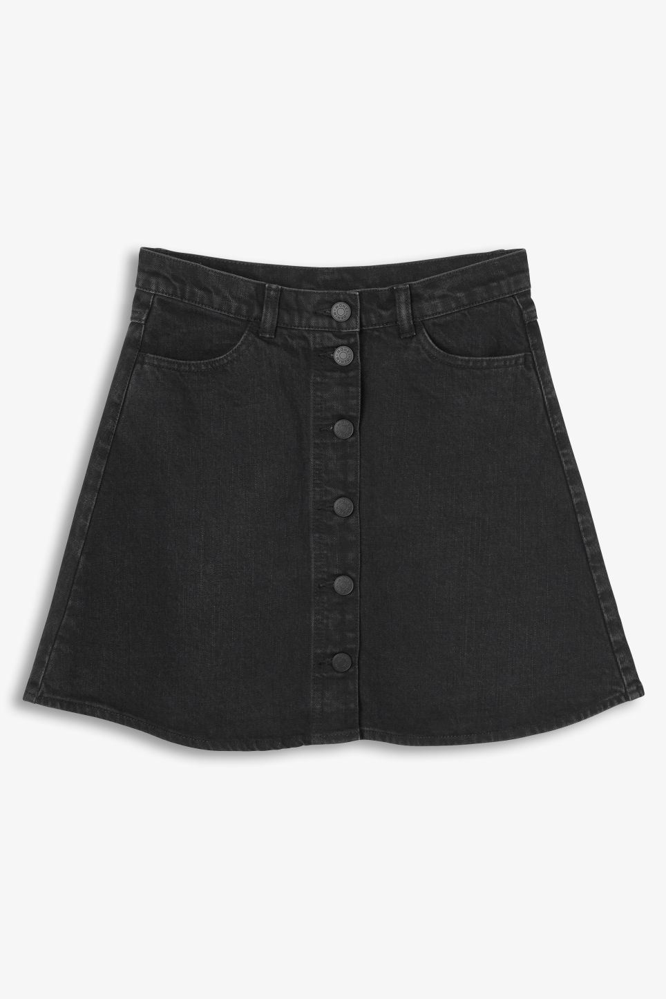 Front image of Monki mini a-line denim skirt in black