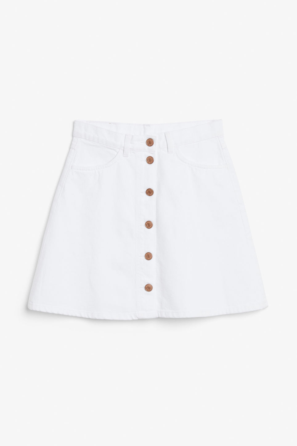 Front image of Monki mini a-line denim skirt in white