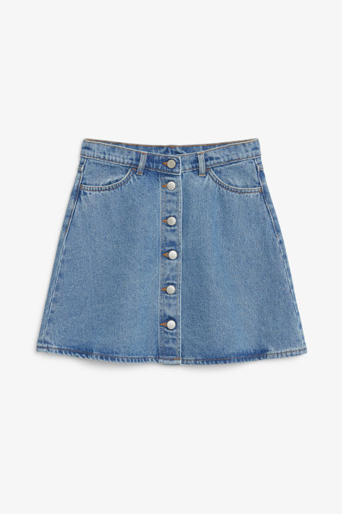 Front image of Monki mini a-line denim skirt in blue