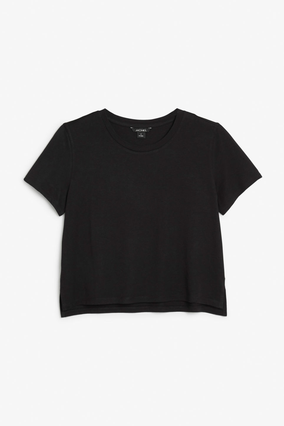 Front image of Monki cropped tee in black