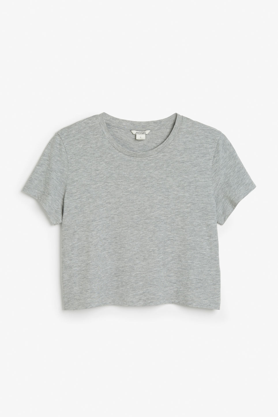Front image of Monki cropped tee in grey