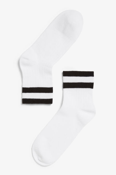 Front image of Monki sporty socks in black