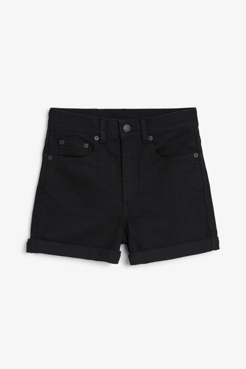 Front image of Monki high waisted denim shorts in black