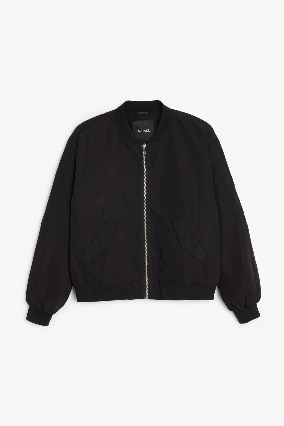 Front image of Monki ruched seam bomber jacket in black