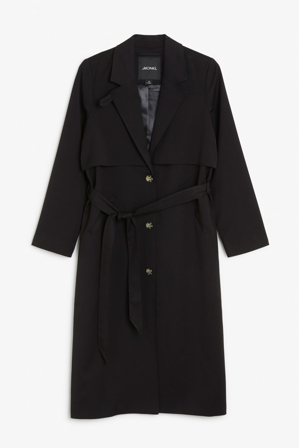 Front image of Monki lightweight trench in black