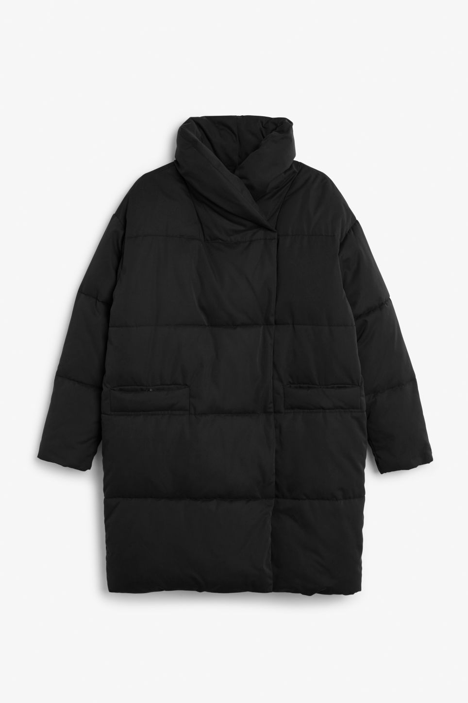 Front image of Monki puff coat in black