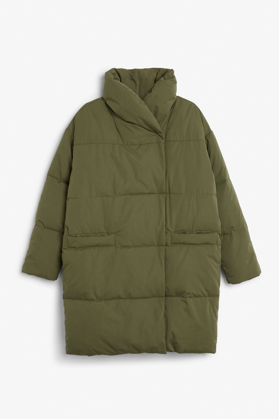 Front image of Monki puff coat in green