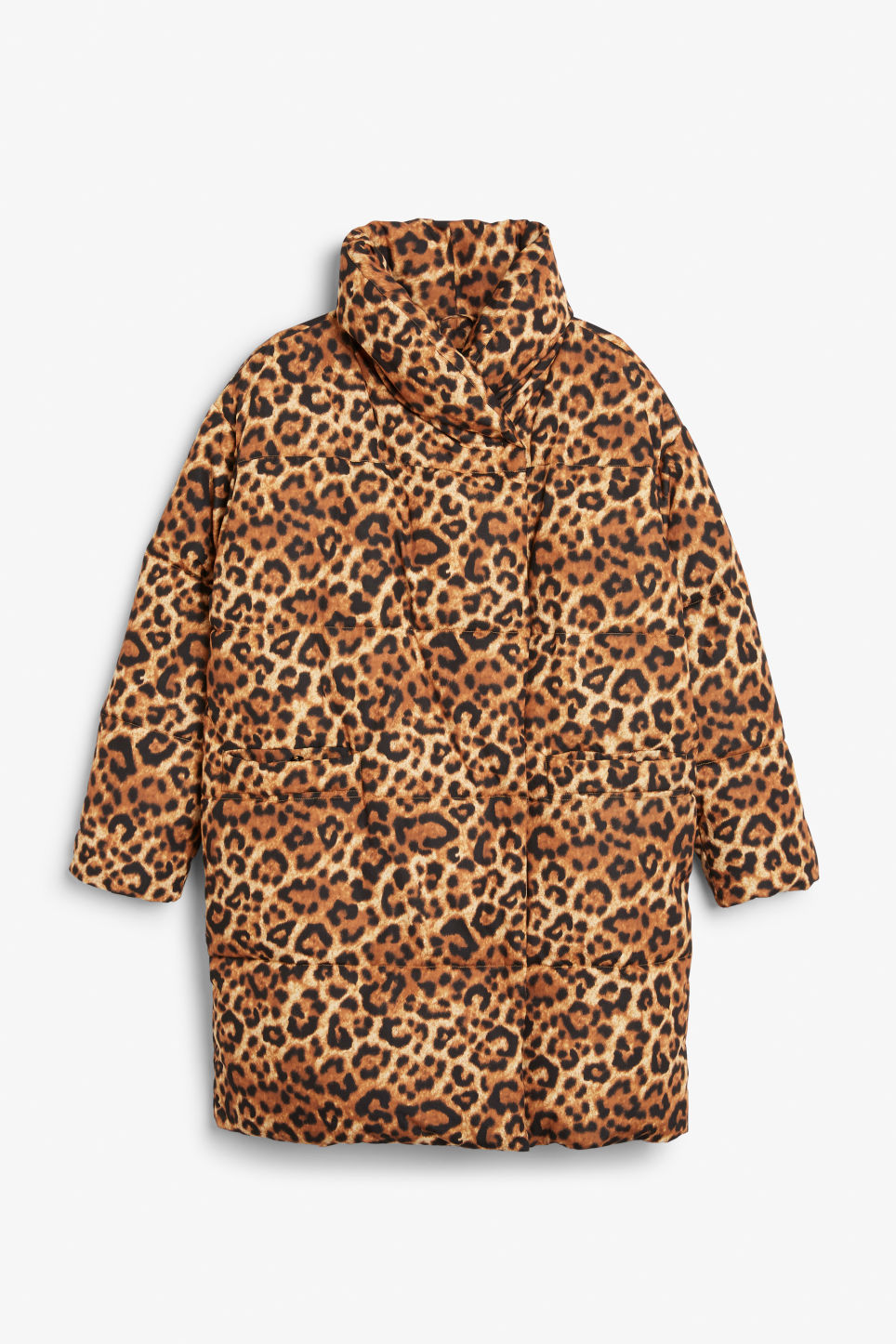 Front image of Monki puff coat in yellow
