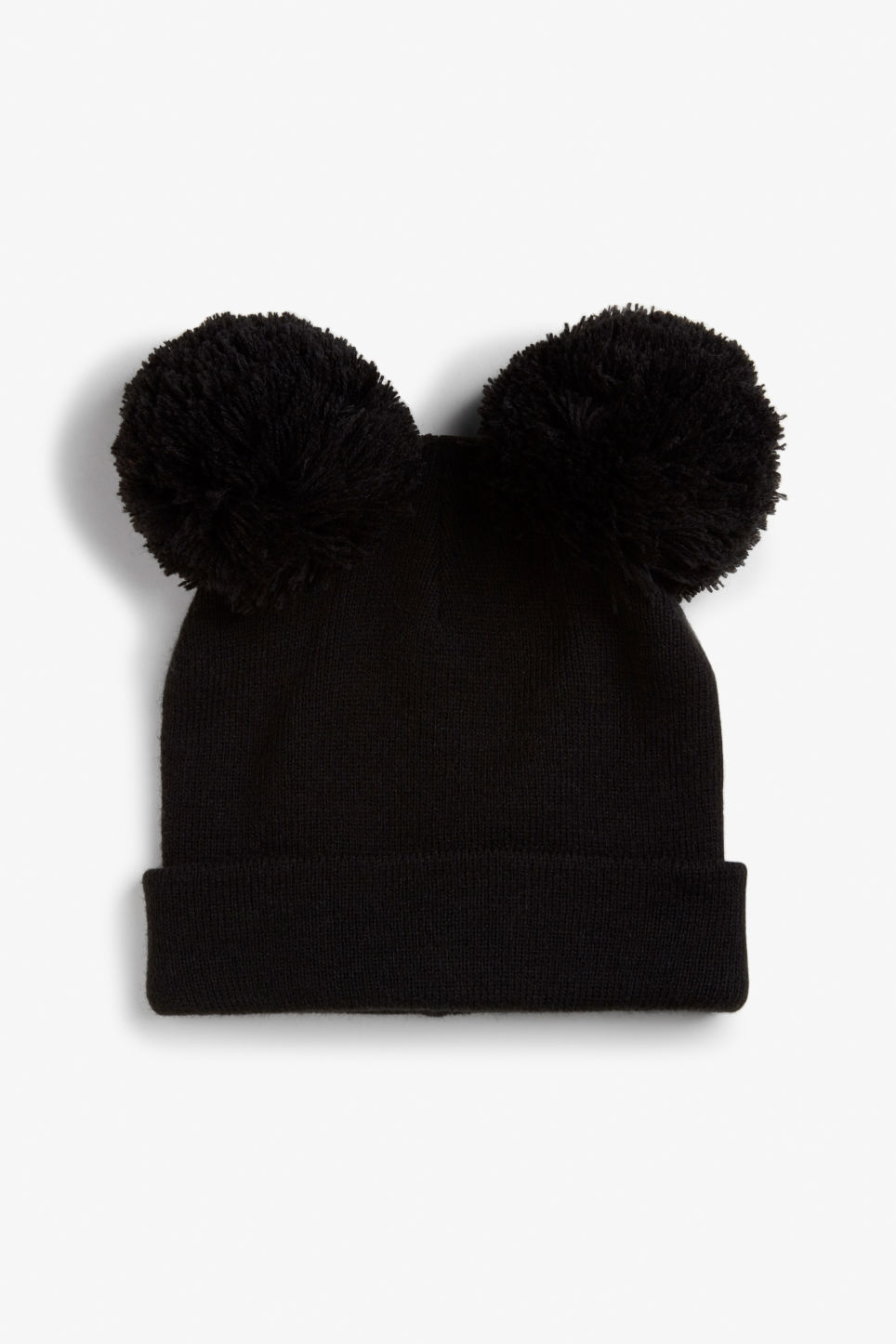 Front image of Monki panda beanie in black