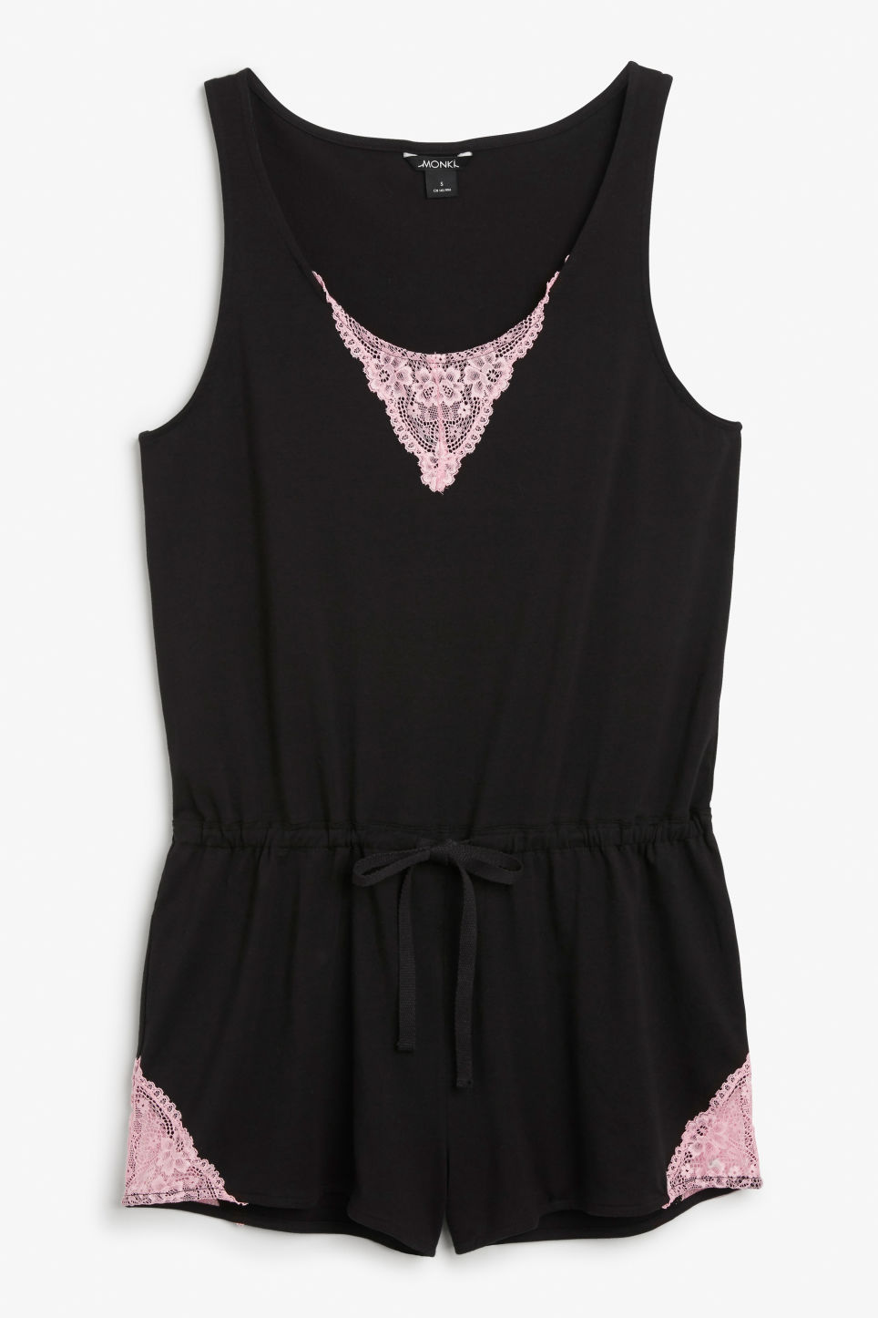 Front image of Monki stretch cotton playsuit in black