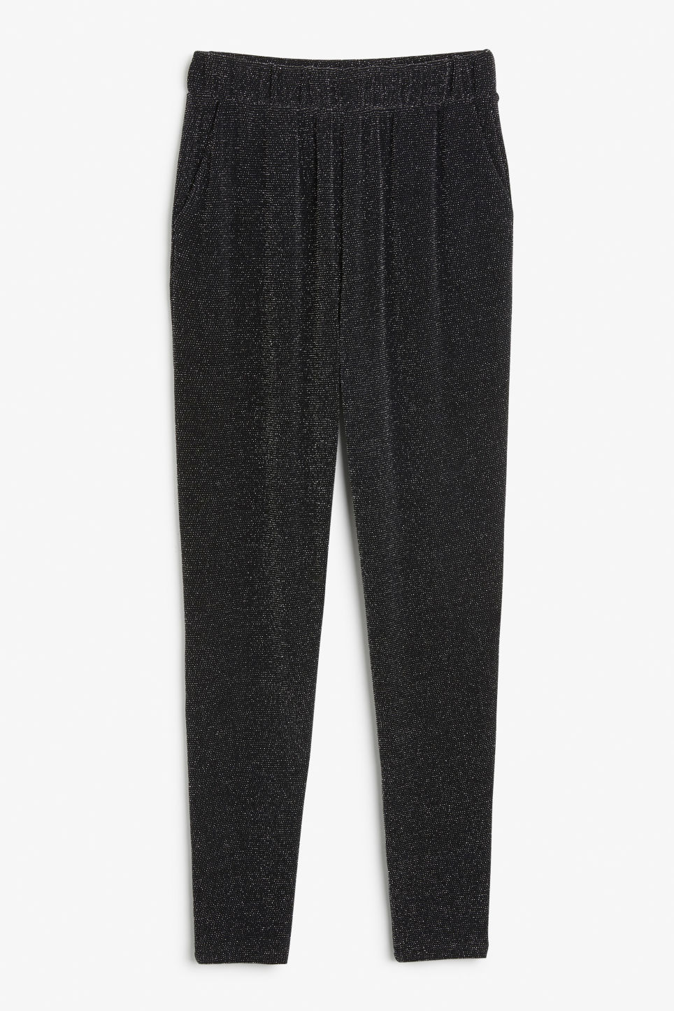 Front image of Monki lounge trousers in black