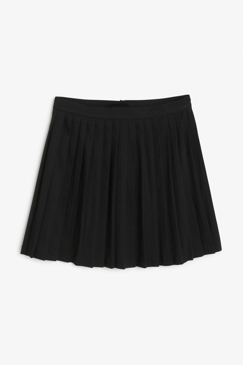 Front image of Monki pleated mini in black