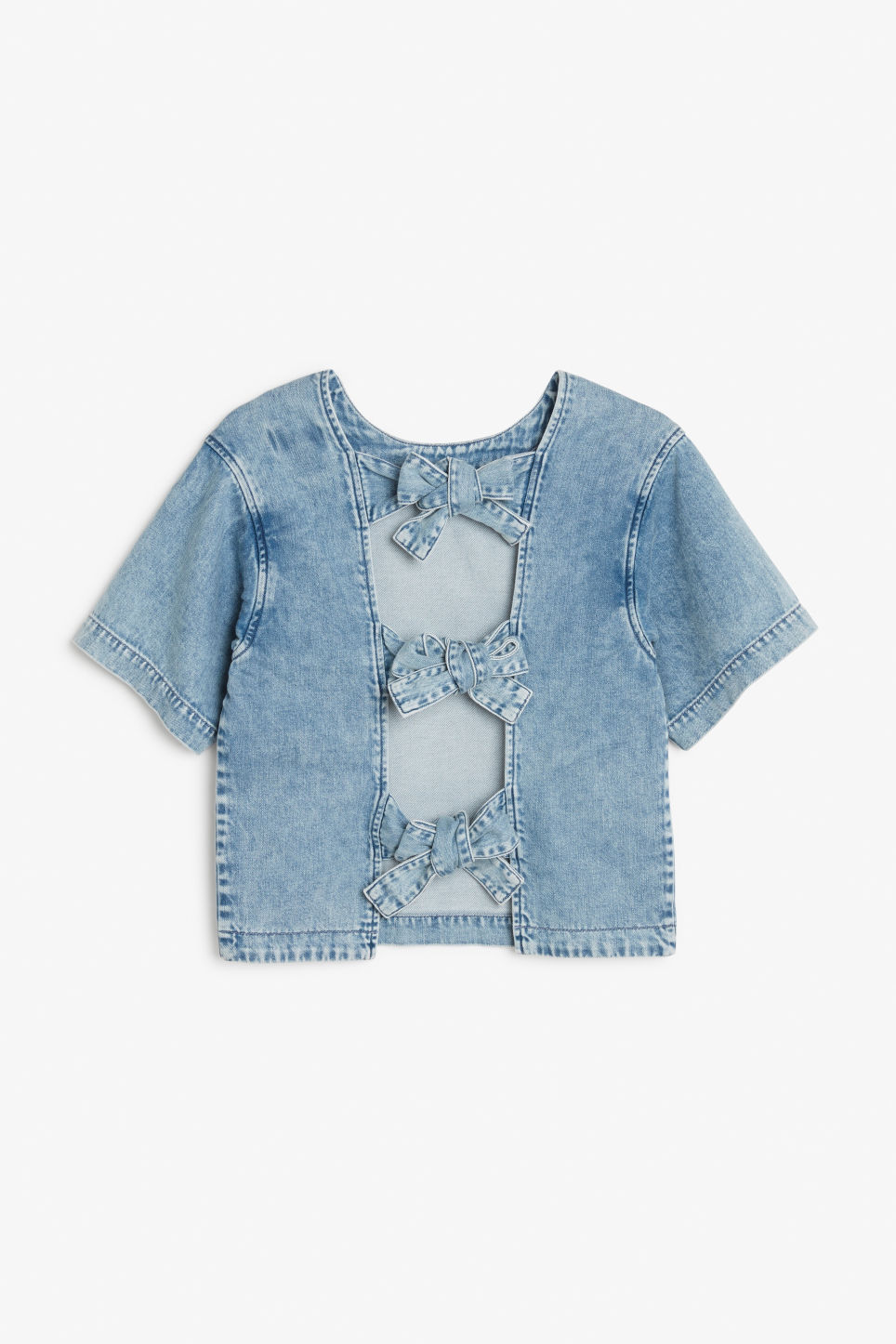 Front image of Monki denim top in blue