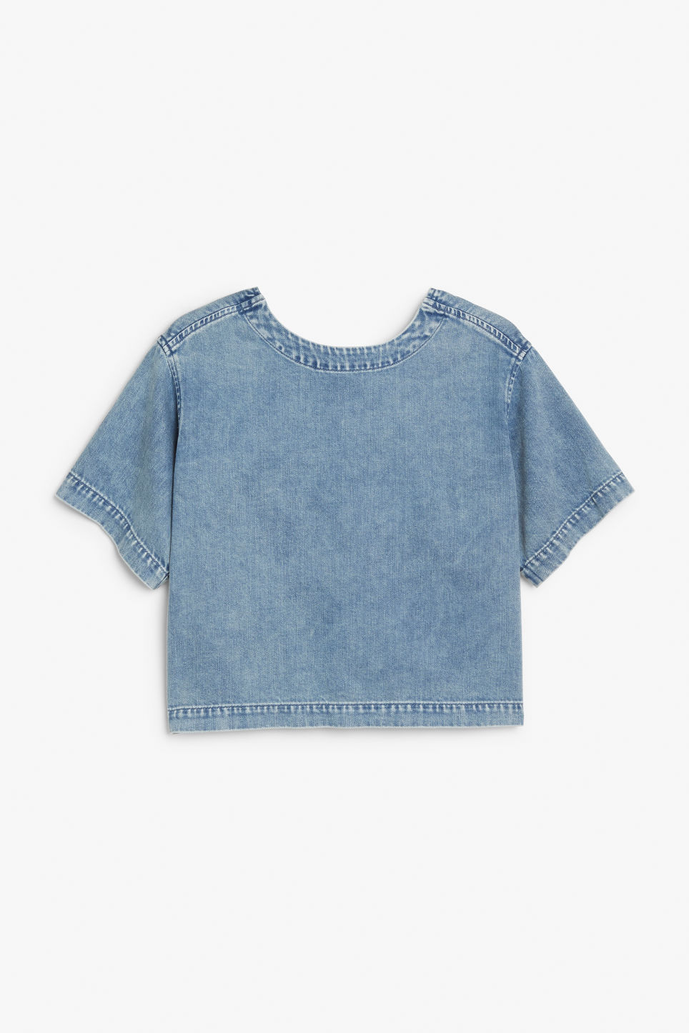 Back image of Monki denim top in blue