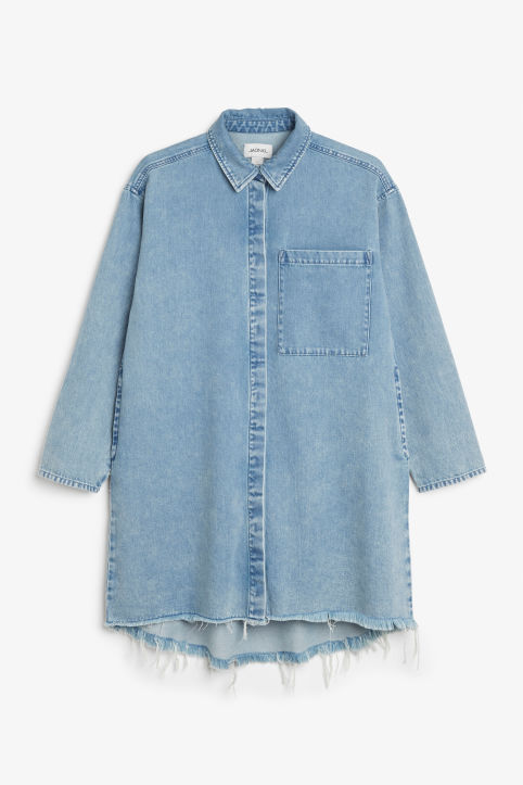 Frayed hem denim shirt