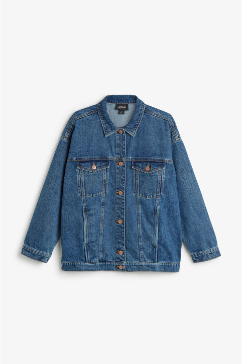 Front image of Monki classic denim jacket in blue