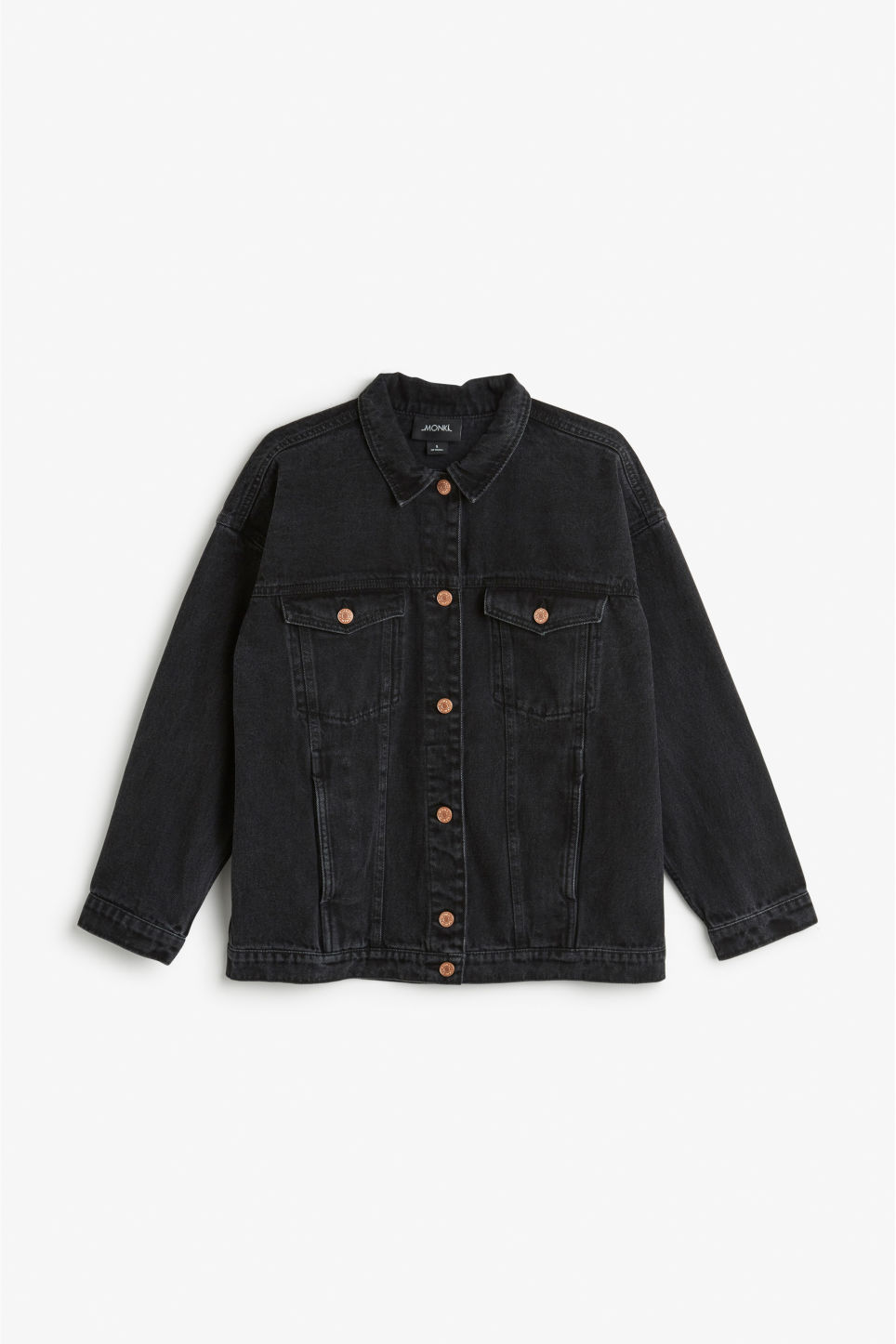 Front image of Monki classic denim jacket in black
