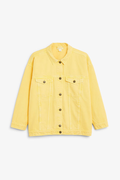 Front image of Monki classic denim jacket in yellow