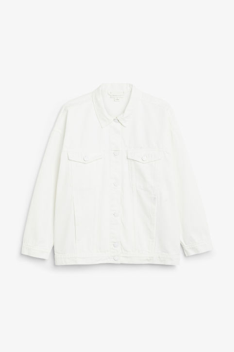 Front image of Monki classic denim jacket in white