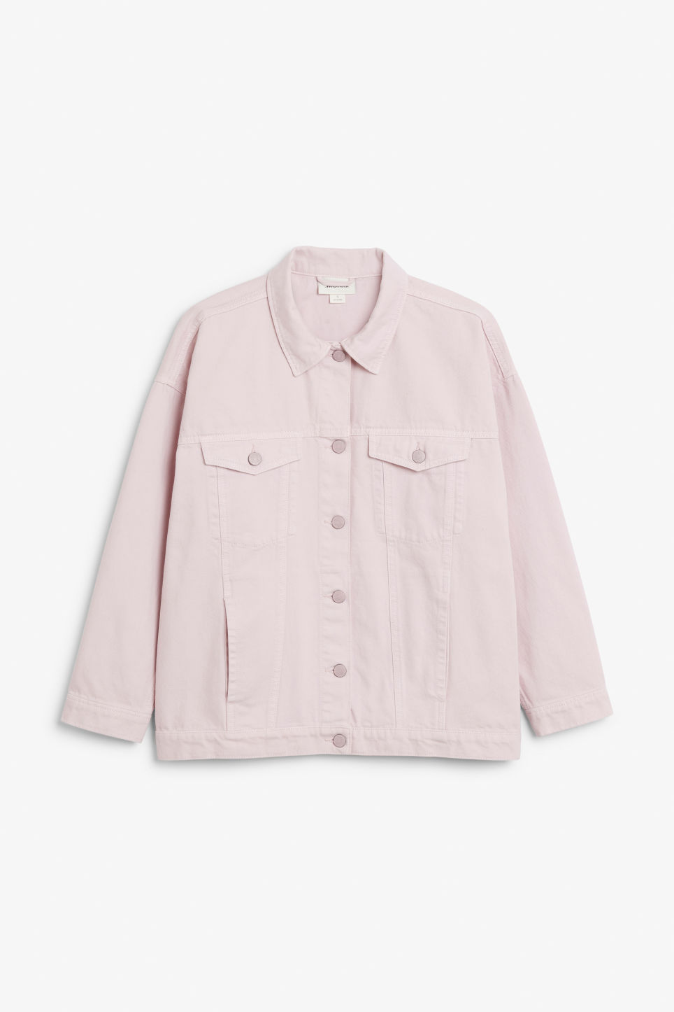 Front image of Monki classic denim jacket in pink