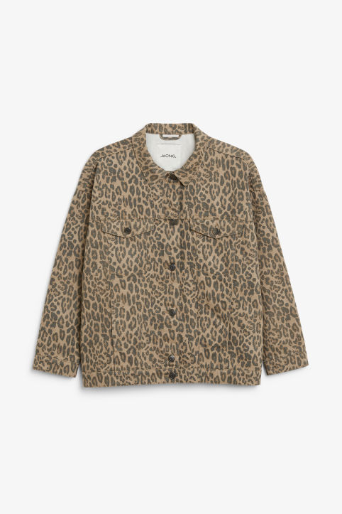 Front image of Monki classic denim jacket in beige