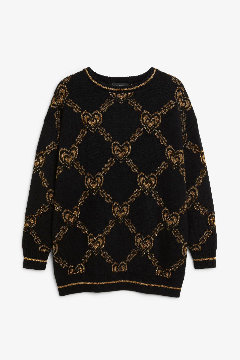 Front image of Monki jacquard knit in black