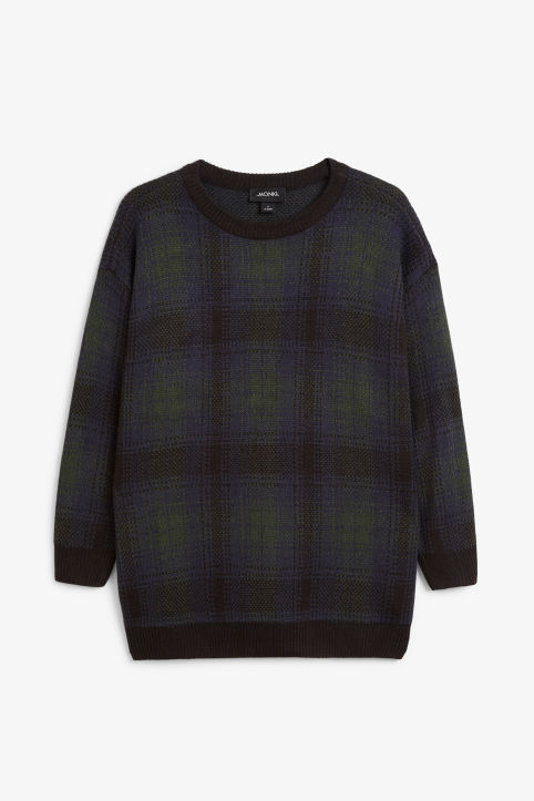 Checked knit sweater
