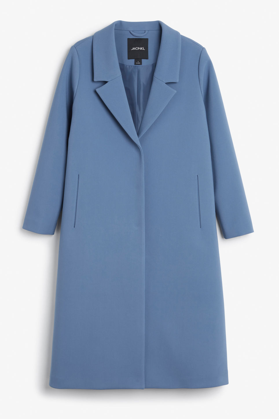 Front image of Monki classic long coat in blue