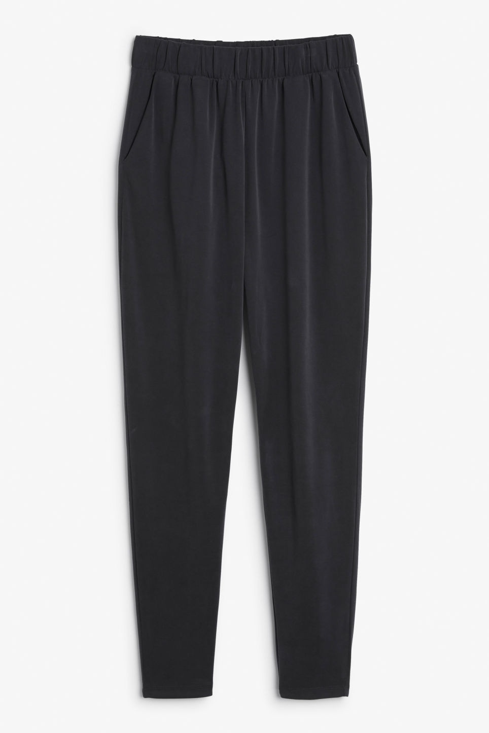 Front image of Monki loungey trousers in black