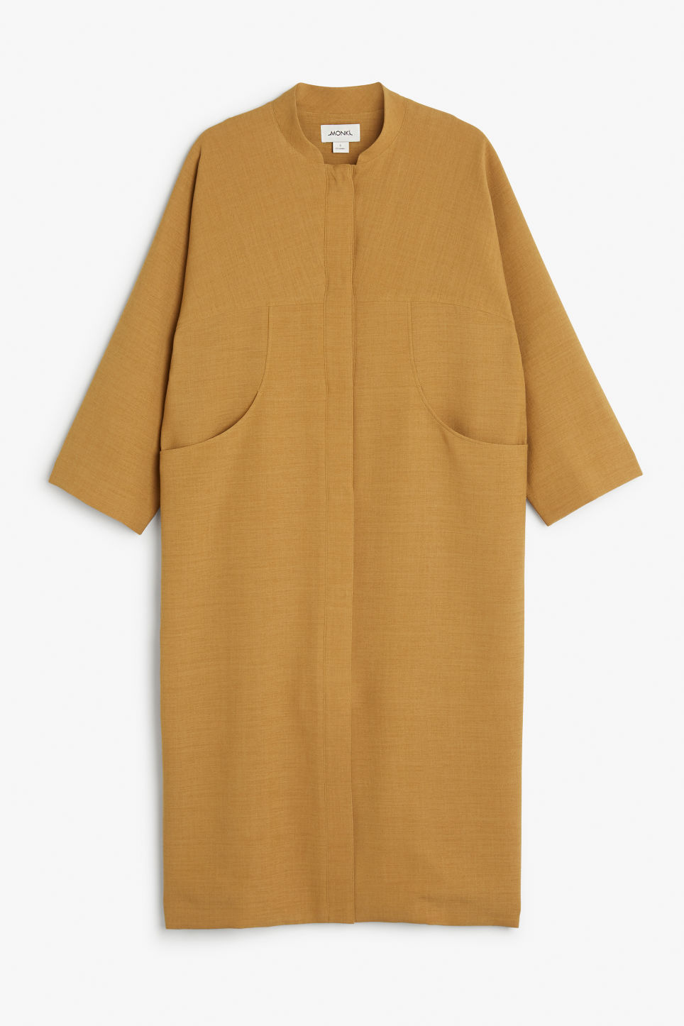 Front image of Monki long coat in yellow