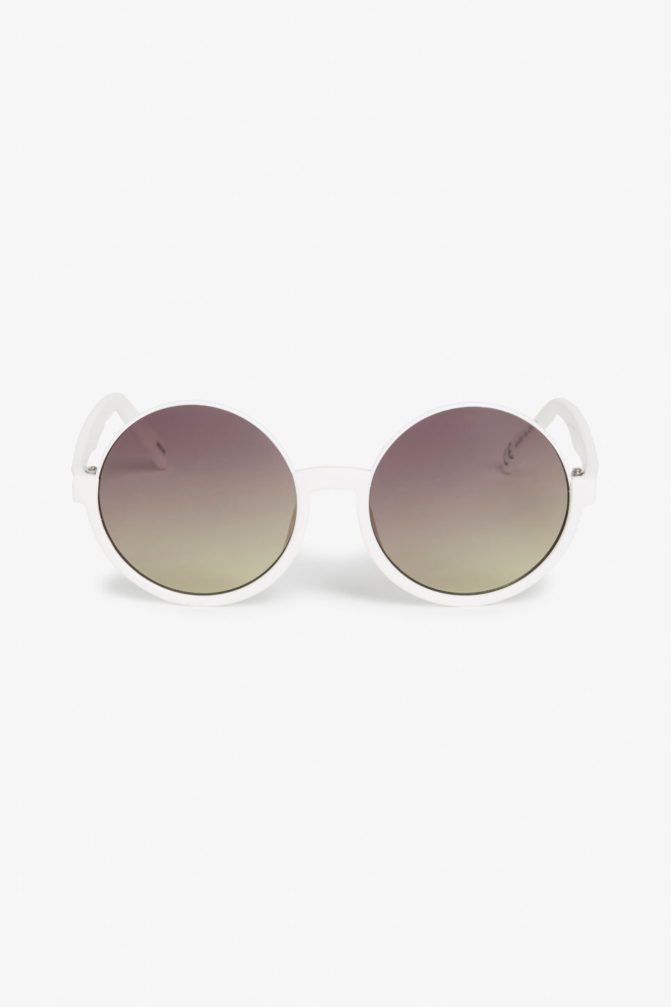 Front image of Monki 90s hippie sunglasses in white