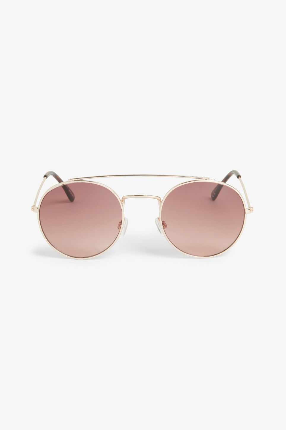 Front image of Monki metal bar sunglasses in gold