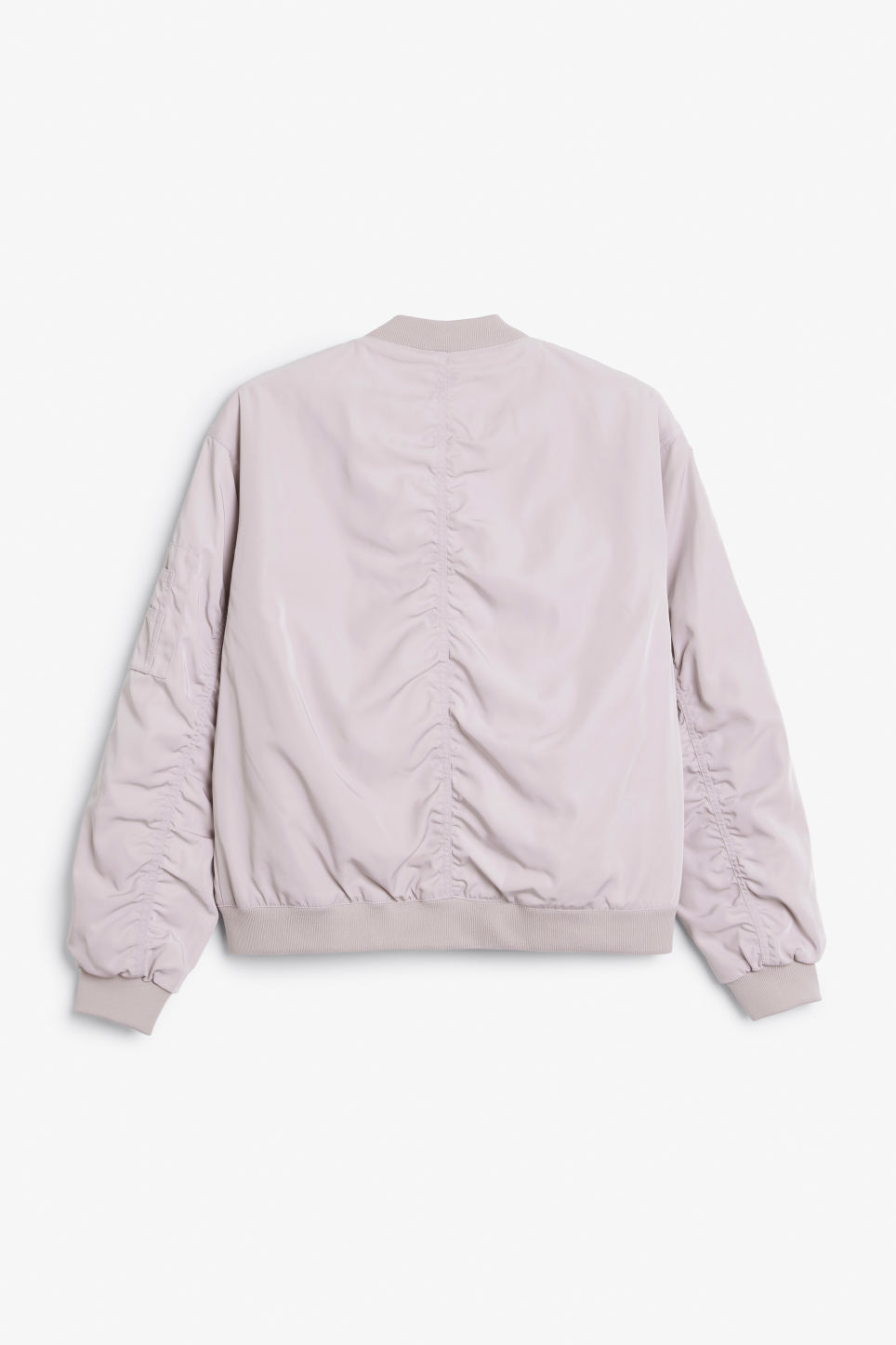 Front image of Monki ruched seam bomber jacket in purple