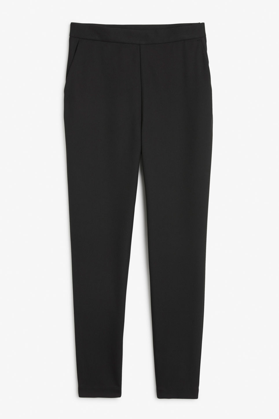 Front image of Monki soft tapered trousers in black