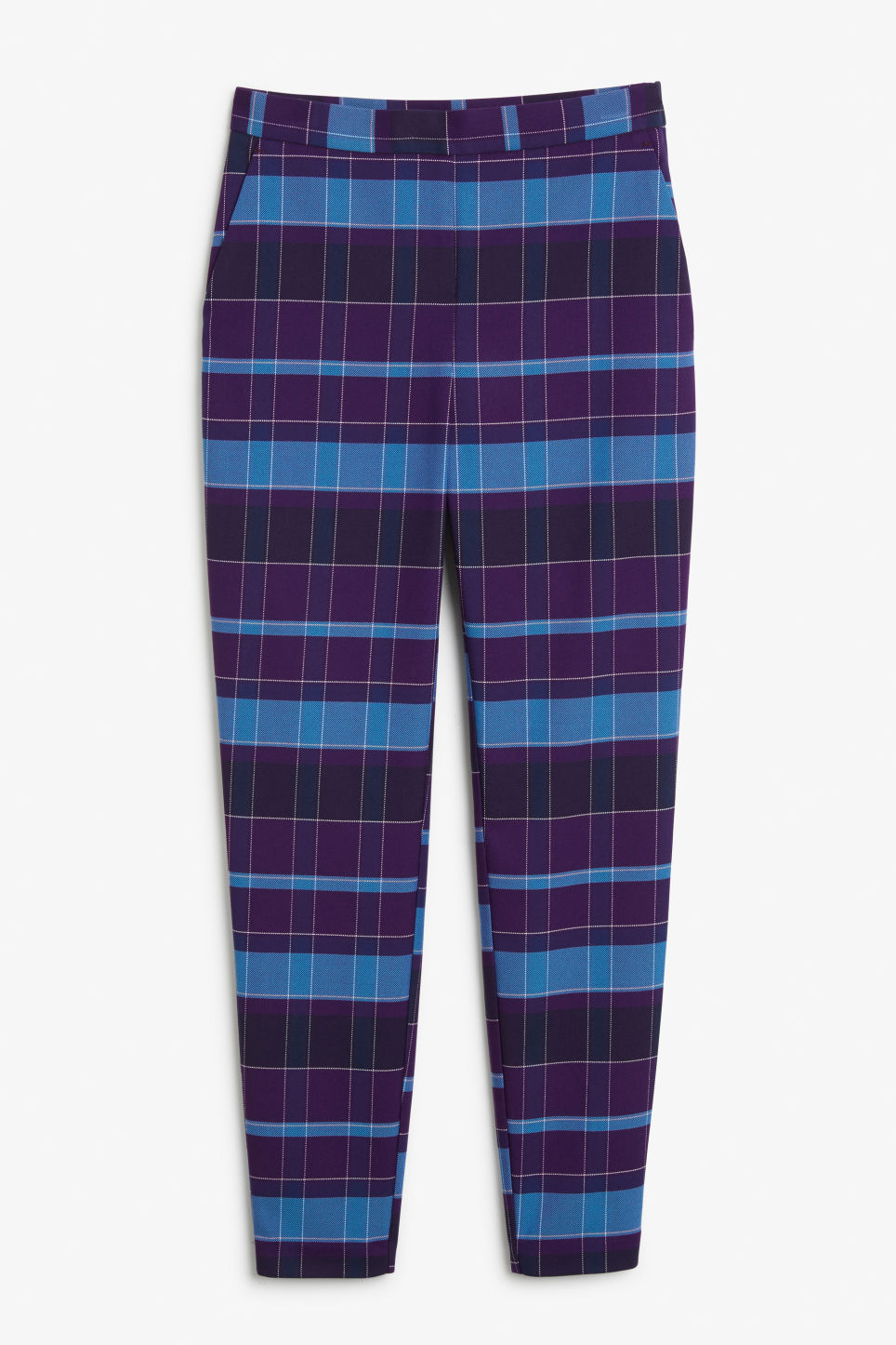 Front image of Monki soft tapered trousers in purple