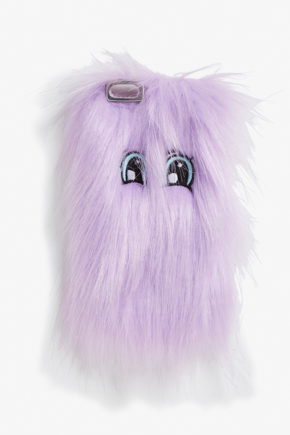 Front image of Monki fluffy phone case in purple