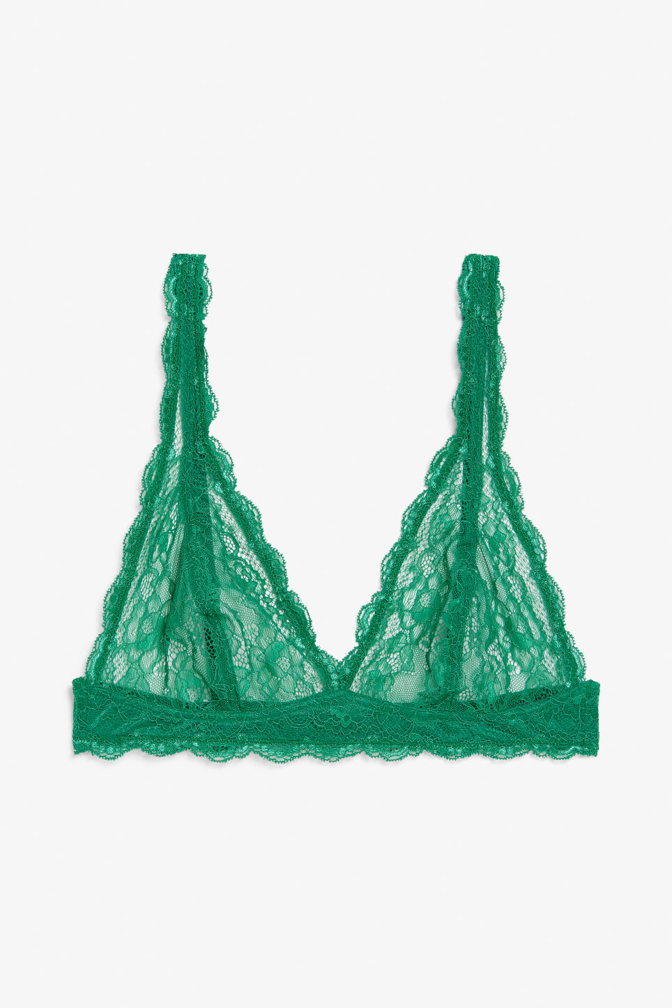 Front image of Monki triangle lace bra in green