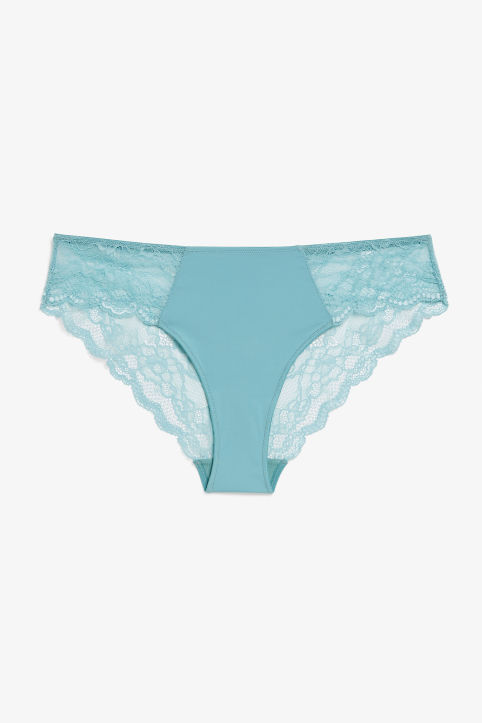 Front image of Monki silky lace briefs in turquoise