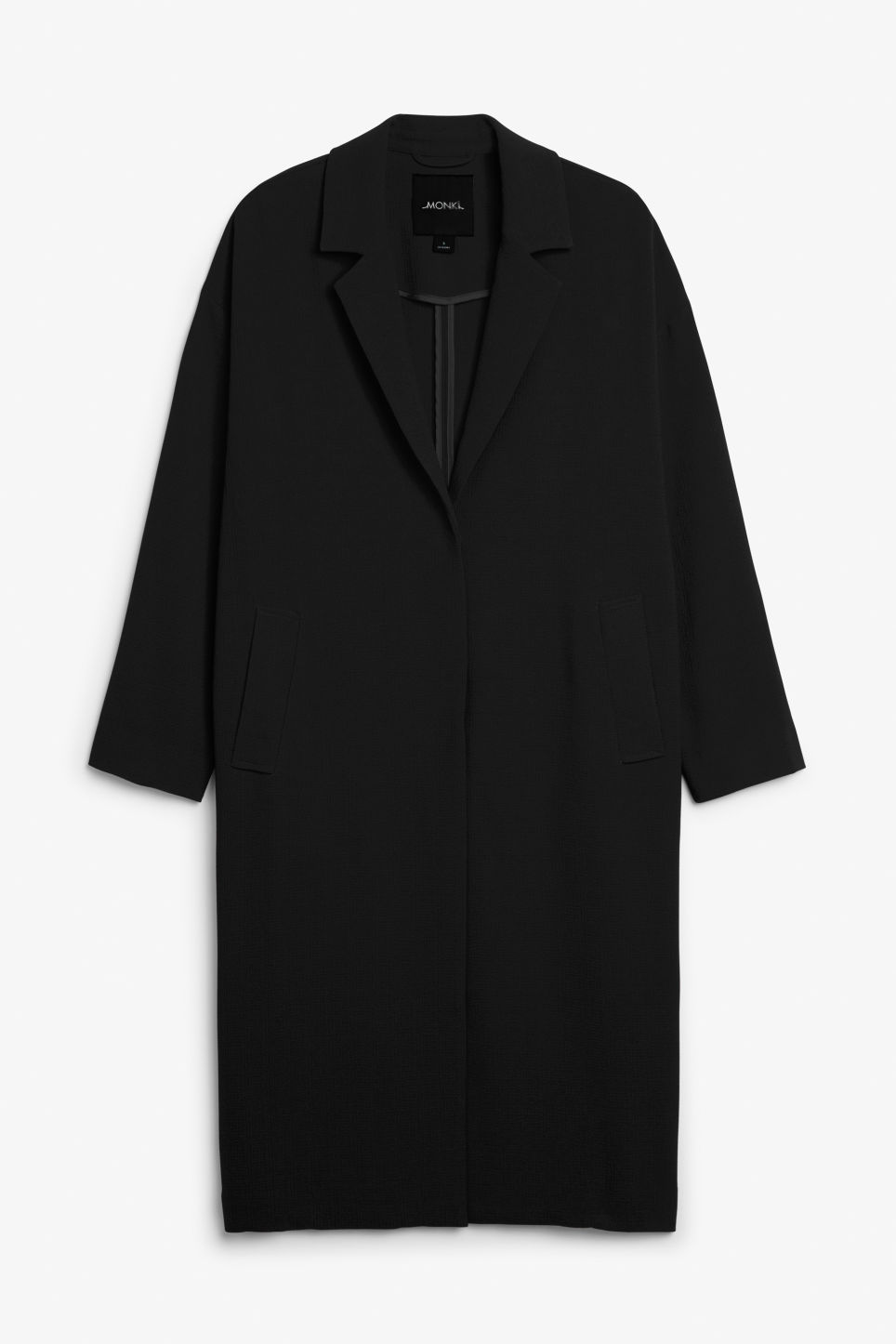 Front image of Monki lightweight coat in black