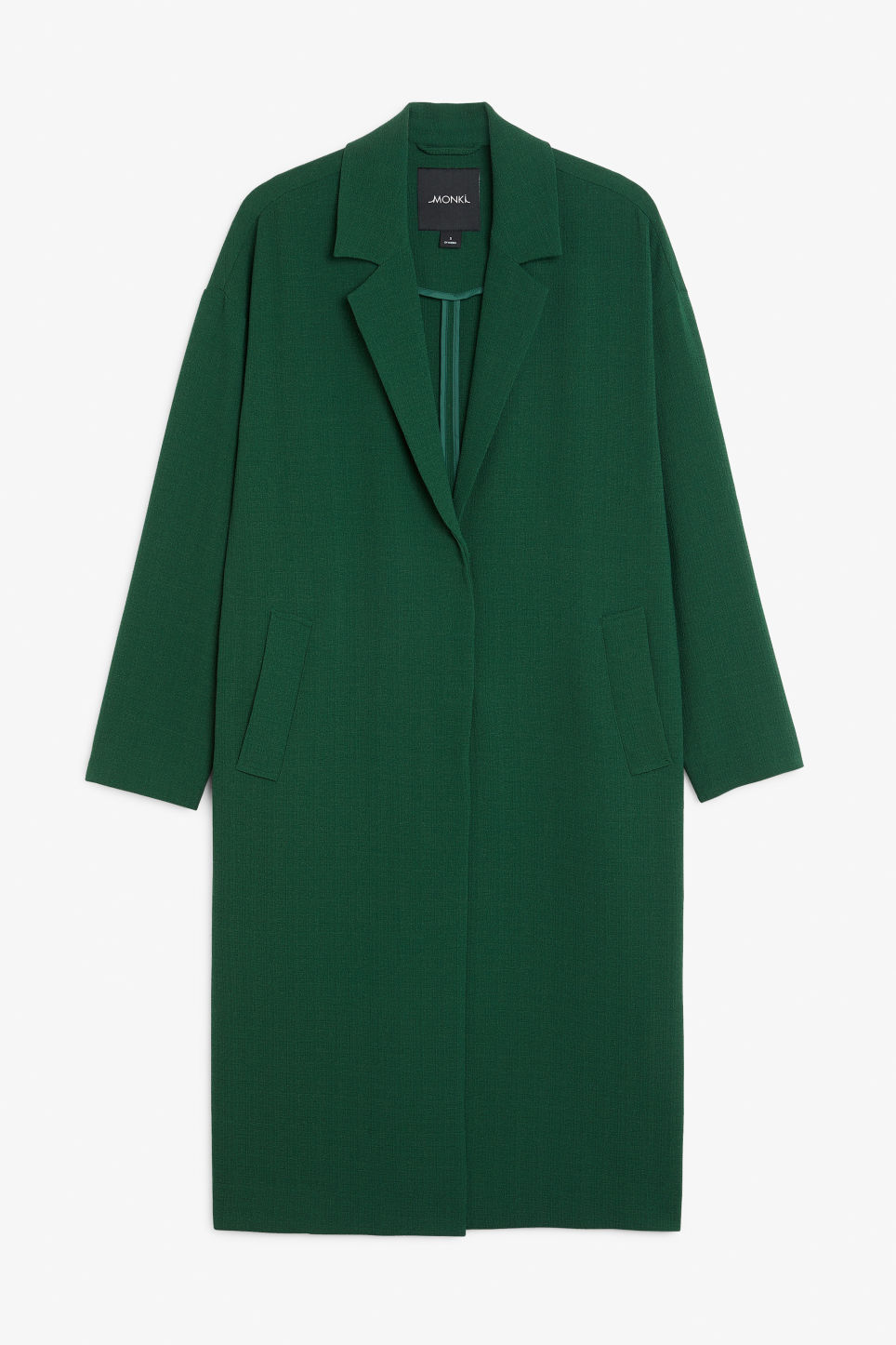 Front image of Monki lightweight coat in green