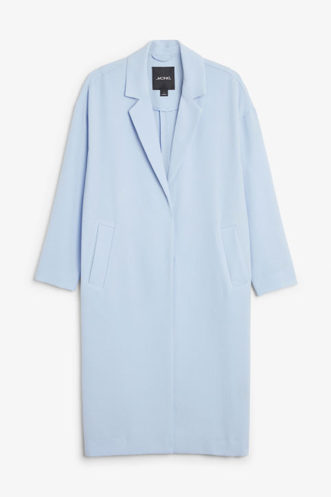 Front image of Monki lightweight coat in blue